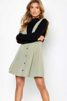 boohoo Plunge Front Button Skater Dress