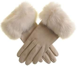 Black Cream Leather Gloves with Rabbit Fur Cuff