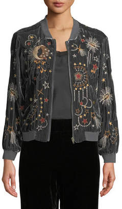 Johnny Was Calisto Embroidered Velvet Bomber Jacket