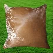 "Optimum Leather Cowhide Cushion Cover Brown White 16"" x 16"""
