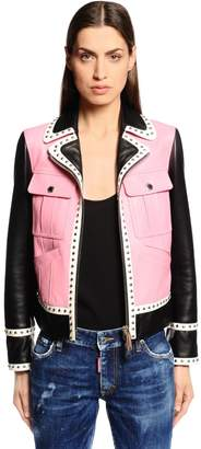 DSQUARED2 Two Tone Studded Leather Biker Jacket