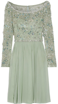 Jenny Packham - Embellished Tulle And Silk-georgette Dress - Mint $4,715 thestylecure.com