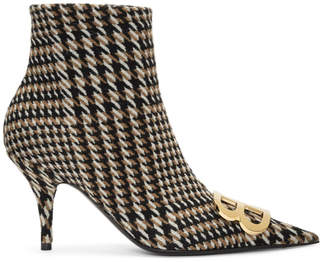 Balenciaga Camel and Black Houndstooth Ankle Boots