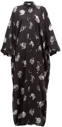 Lanvin Logo Print Silk Dress - Womens - Black White
