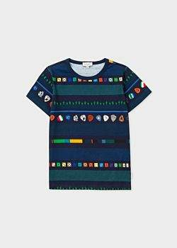 Paul Smith Boys' 2-6 Years Navy 'Dice And Cactus' Stripe T-Shirt