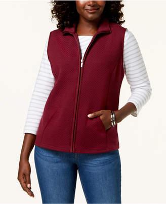 Karen Scott Petite Mini-Quilt Fleece Vest
