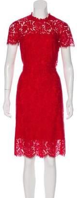 Diane von Furstenberg Lace Short Sleeve Midi Dress
