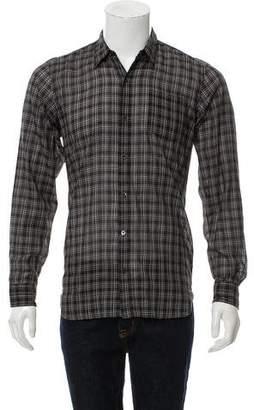 Dries Van Noten Plaid Point Collar Button-Up w/ Tags
