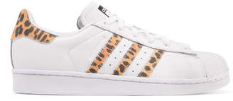 adidas Superstar Leopard Print-trimmed Leather Sneakers - White