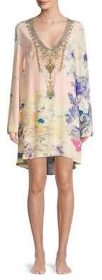 Camilla Embellished Floral Silk V-Neck Dress