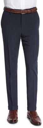Incotex Standard-Fit Striped Seersucker Trousers, Navy