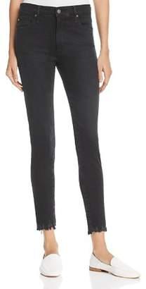 AG Jeans Farrah Destroyed Hem Skinny Ankle Jeans in Black Storm