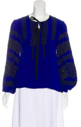 Andrew Gn Lace-Trimmed Silk Top
