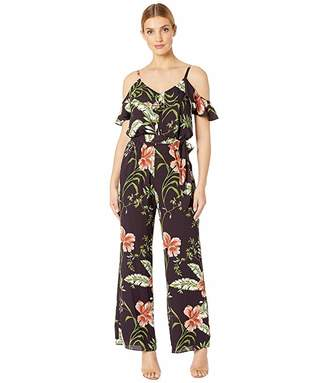 Adrianna Papell Tropic Printed Jumpsuit with Blouson and Flounce Sleeve