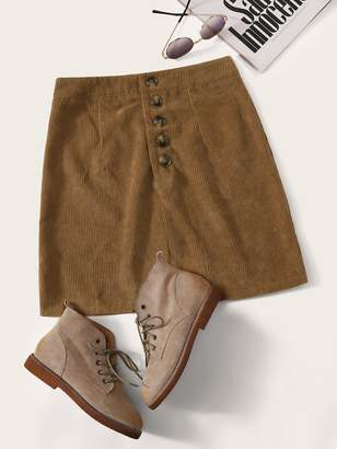 Shein Button Front Corduroy Skirt