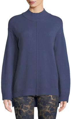 Neiman Marcus Mock-Neck Seamed Sweater