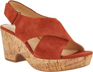 Clarks Artisan Leather Adjustable Wedge Sandals - Maritsa Lara