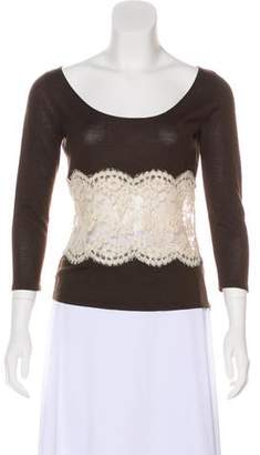 Valentino Lace-Accented Wool Top