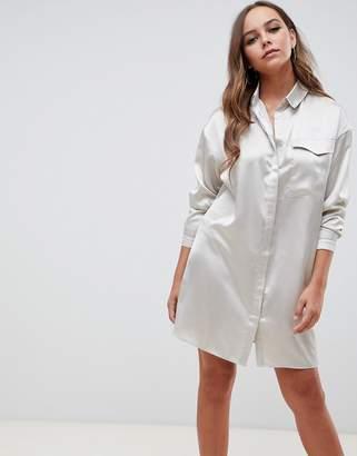 Asos Design DESIGN satin shirt mini dress