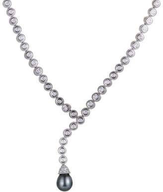 Penny Preville 18K White Gold with 2.50ct. Diamond & Black Pearl Petite Necklace
