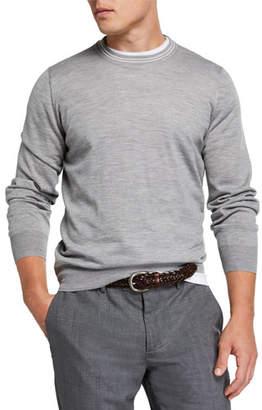 Brunello Cucinelli Men's Cashmere Striped-Trim Sweater