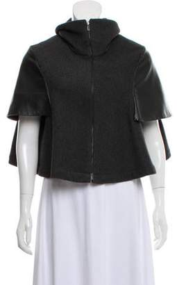 Manrico Cashmere Leather-Panel Wool Cape Grey Manrico Cashmere Leather-Panel Wool Cape
