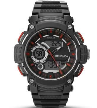 Sekonda Men's Digital Watch with Black Dial Digital Display and Black Plastic Strap 1161.05
