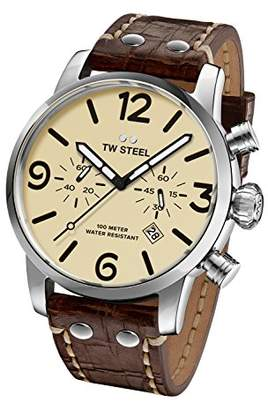 TW Steel Maverick Men's Quartz Watch with Beige Dial Chronograph Display and Brown Leather Strap MS24
