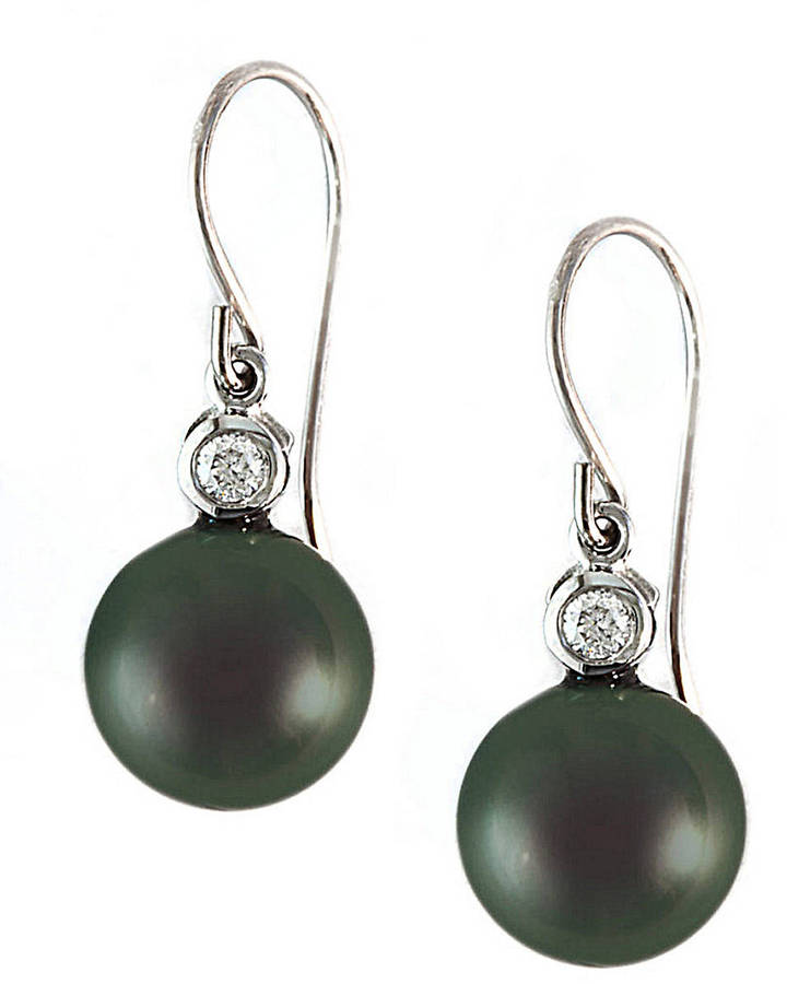 EFFY COLLECTION Tahitian Pearl and Diamond Earrings in 14 Kt. White Gold, 0.1 ct. t.w., 9MM