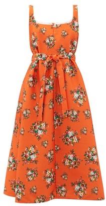 Emilia Wickstead Shelly Floral Print Cloque Dress - Womens - Orange Multi