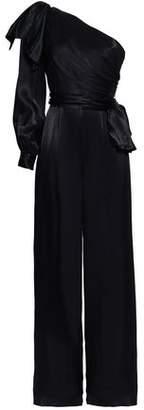 Zimmermann Bow-detailed One-shoulder Satin Jumpsuit