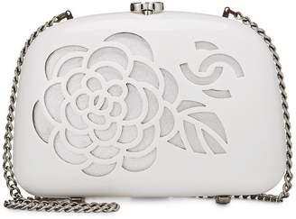 Chanel White Acrylic Camellia Minaudiere