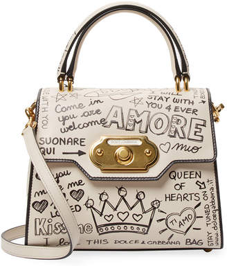 Dolce & Gabbana Mural Welcome Leather Satchel