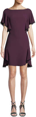 J. Mendel Boat-Neck Short-Sleeve Tiered-Hem Silk Cocktail Dress w/ Scalloped Trim