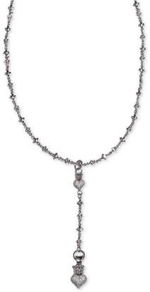 """King Baby Studio Women's Crown Heart 24"""" Lariat Necklace in Sterling Silver"""