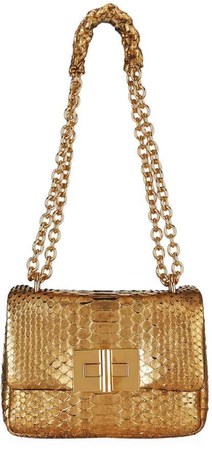TOM FORD Small Soft Natalia Metallic Python Shoulder Bag, Gold