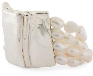 Made In Israel Sterling Silver Pearl Multi Row Bracelet