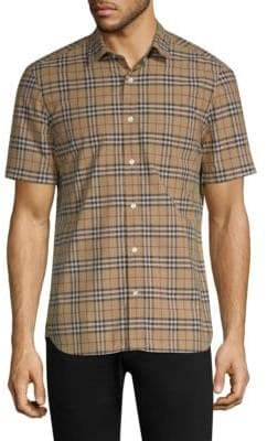 Burberry Alexander Plaid Short-Sleeve Cotton Button-Down Shirt