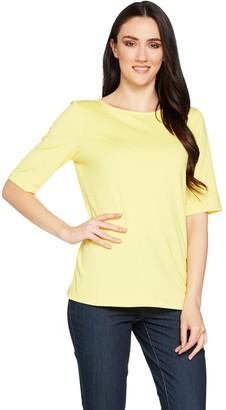 Susan Graver Essentials Butterknit Elbow Sleeve Bateau Neck Top
