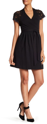 Diane von Furstenberg Elizabeth Lace Sleeve Wrap Dress $468 thestylecure.com