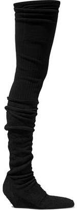 Rick Owens Ribbed-Knit And Suede Thigh Boots