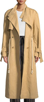 Vince Long Linen/Cotton Drawstring Trench Coat