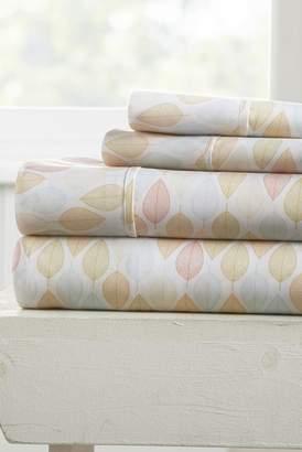 IENJOY HOME Our Elegant Fall Foliage Pattern 4-Piece Sheet Set - Yellow - Queen
