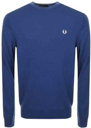 Fred Perry Classic Crew Neck Knit Jumper Blue