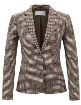BOSS Hugo One-button blazer in stretch fabric micro check pattern 6 Patterned