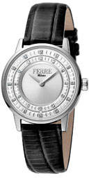Ferré Milano 32mm Donna Cremona Crystal Watch w/ Leather, Black/Steel