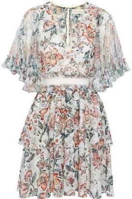 Sachin + Babi Ruffled Lace-Trimmed Floral-Print Tulle Mini Dress