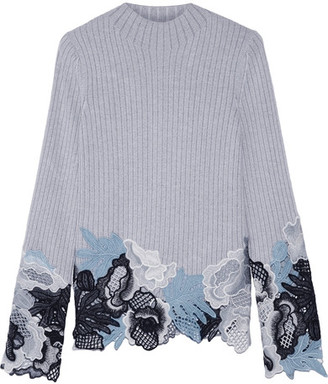 3.1 Phillip Lim - Guipure Lace-trimmed Mélange Wool-blend Sweater - Light gray $495 thestylecure.com