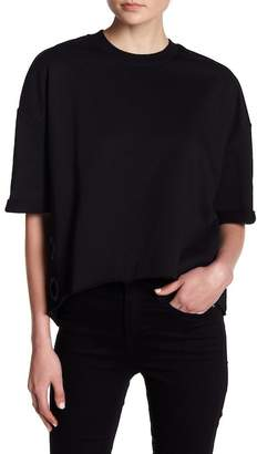 KENDALL + KYLIE Kendall & Kylie Short Sleeve Eyelet Accent Pullover