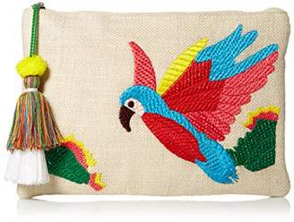 Twig & Arrow Embroidered Parrot Clutch